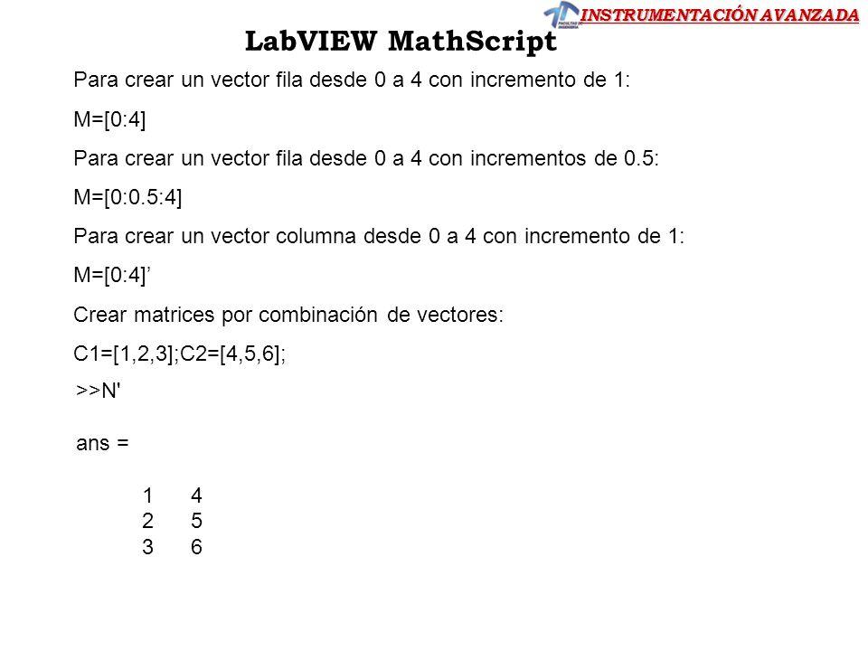 LabVIEW MathScript Para crear un vector fila desde 0 a 4 con incremento de 1: M=[0:4] Para crear un vector fila desde 0 a 4 con incrementos de 0.5: